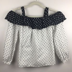 Ann Taylor Loft Polka Dot Cold Shoulder Top